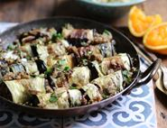 Aubergine Rolls with Spiced Almond & Date Stuffing