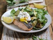Crispy Grilled Salmon with Poached Eggs & Greens