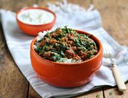 Lamb Keema with Cool as a Cucumber Raita