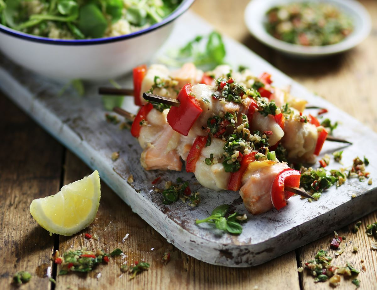 Grilled Fish Kebabs with Sorrel & Walnut Salsa Verde