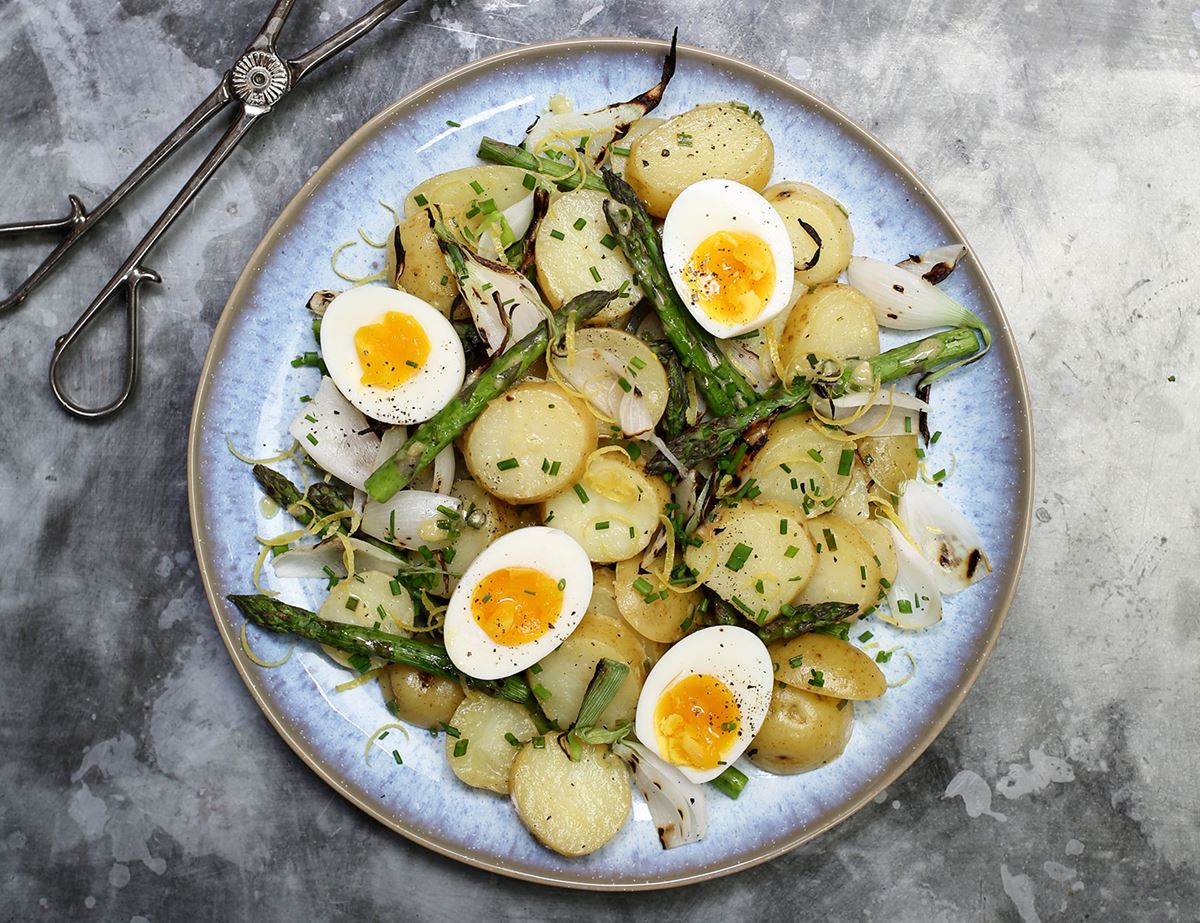 Asparagus & New Potato Salad with Soft Boiled Eggs