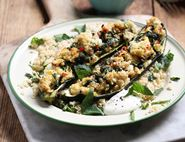 Feta Stuffed Courgettes with Minted Couscous