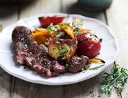 Venison Minute Steaks with Griddled Plums & Carrot Top Tzatziki