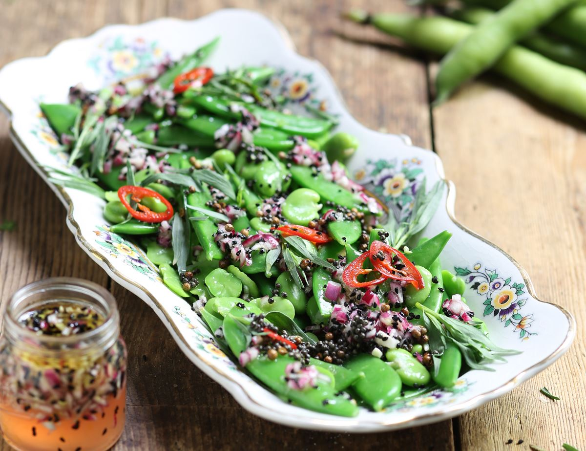 Summer Bean Salad with Popping Seeds