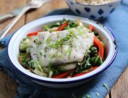 Baked Pollock Parcels with Ginger & Tamari Veg