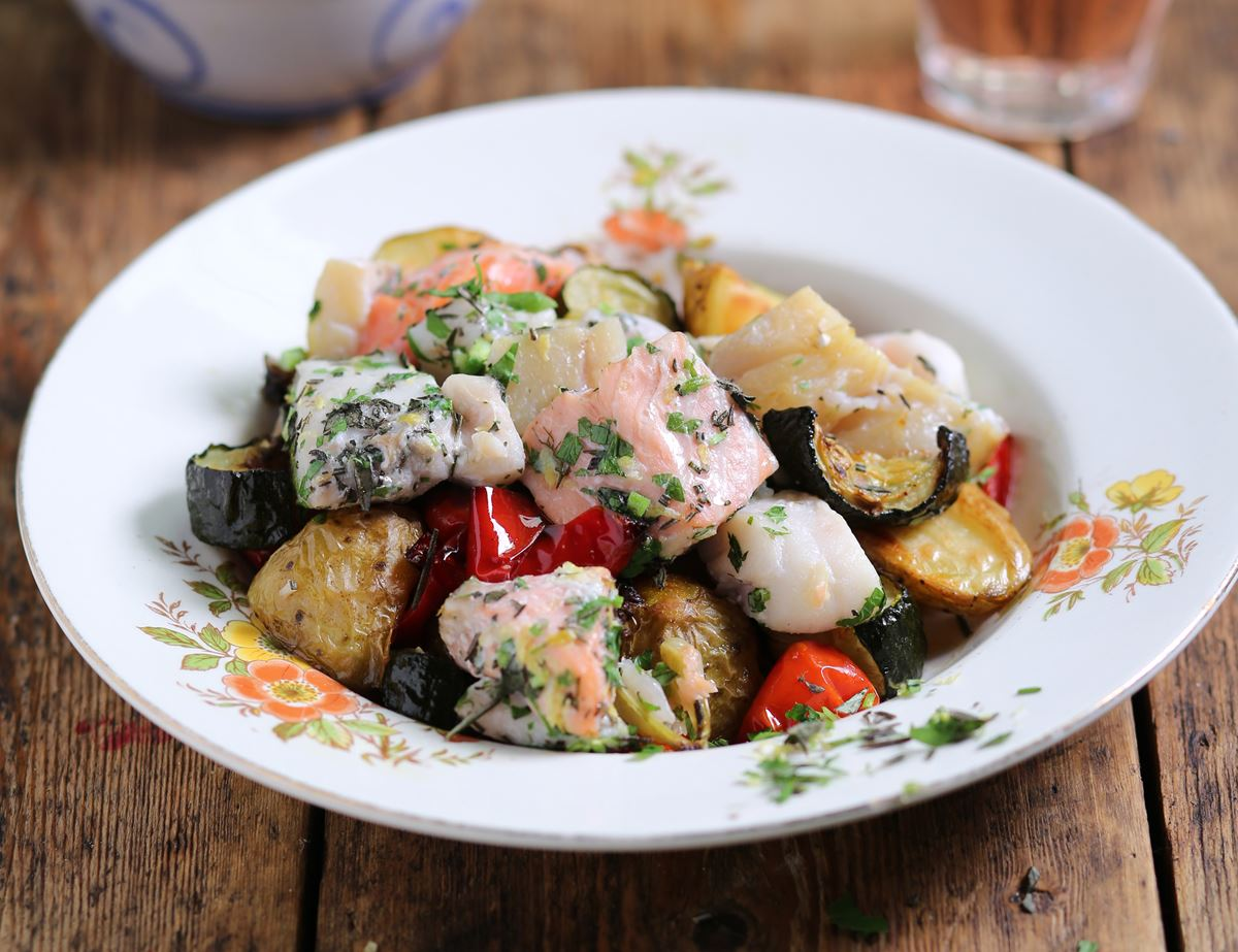 Herby Italian Baked Fish with Roast Summer Veg
