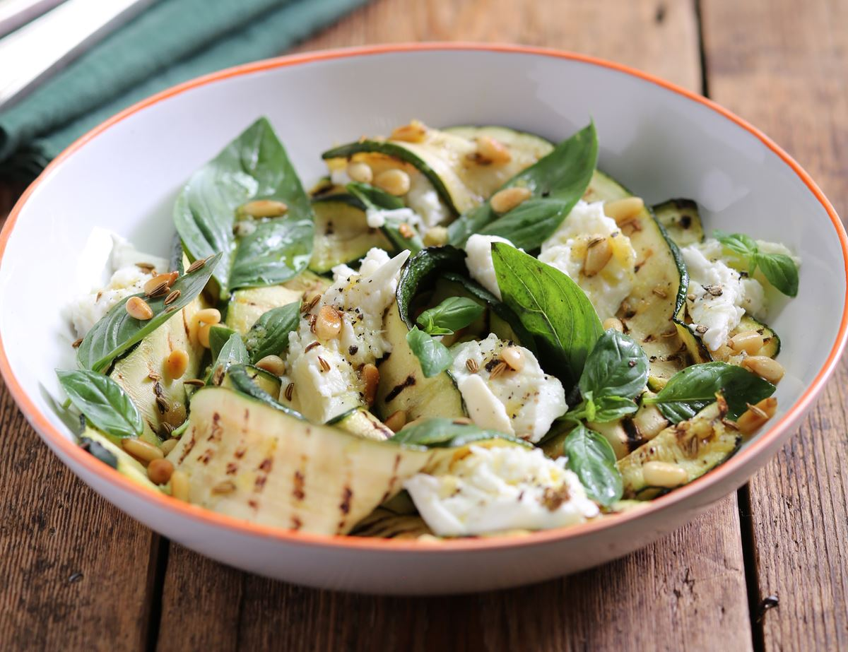 Charred Courgette & Mozzarella Salad
