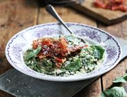 Summer Garden Risotto with Crispy Prosciutto