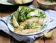 Quick Pan-Fried Plaice with Fresh Basil Pesto & Courgette Salad