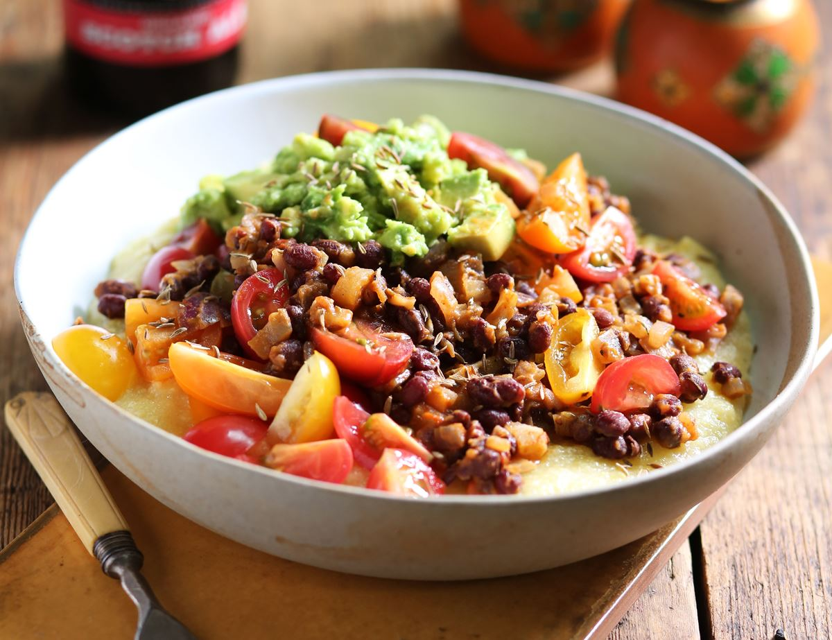 Tex-Mex Tamale Bowl with Smoky Red Beans & Smashed Avocado