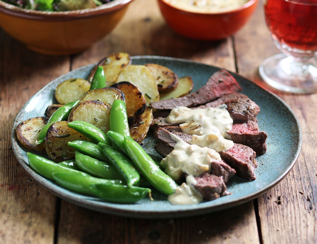 Peppered Minute Steaks with Sautéed Jersey Royals