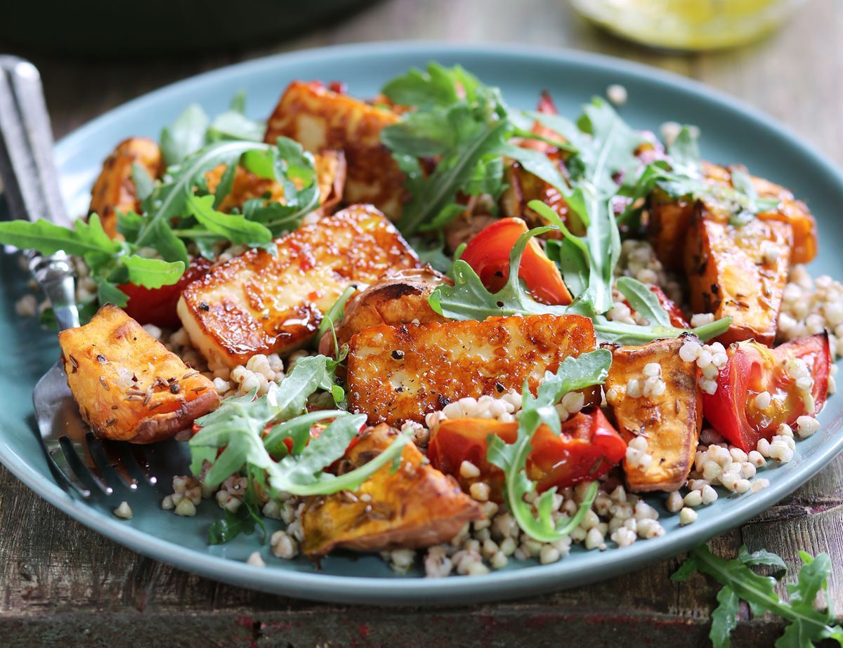 Golden Chilli Halloumi with Sweet Potato Buckwheat