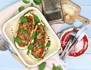 Lentil & Parmesan Marrow Boats
