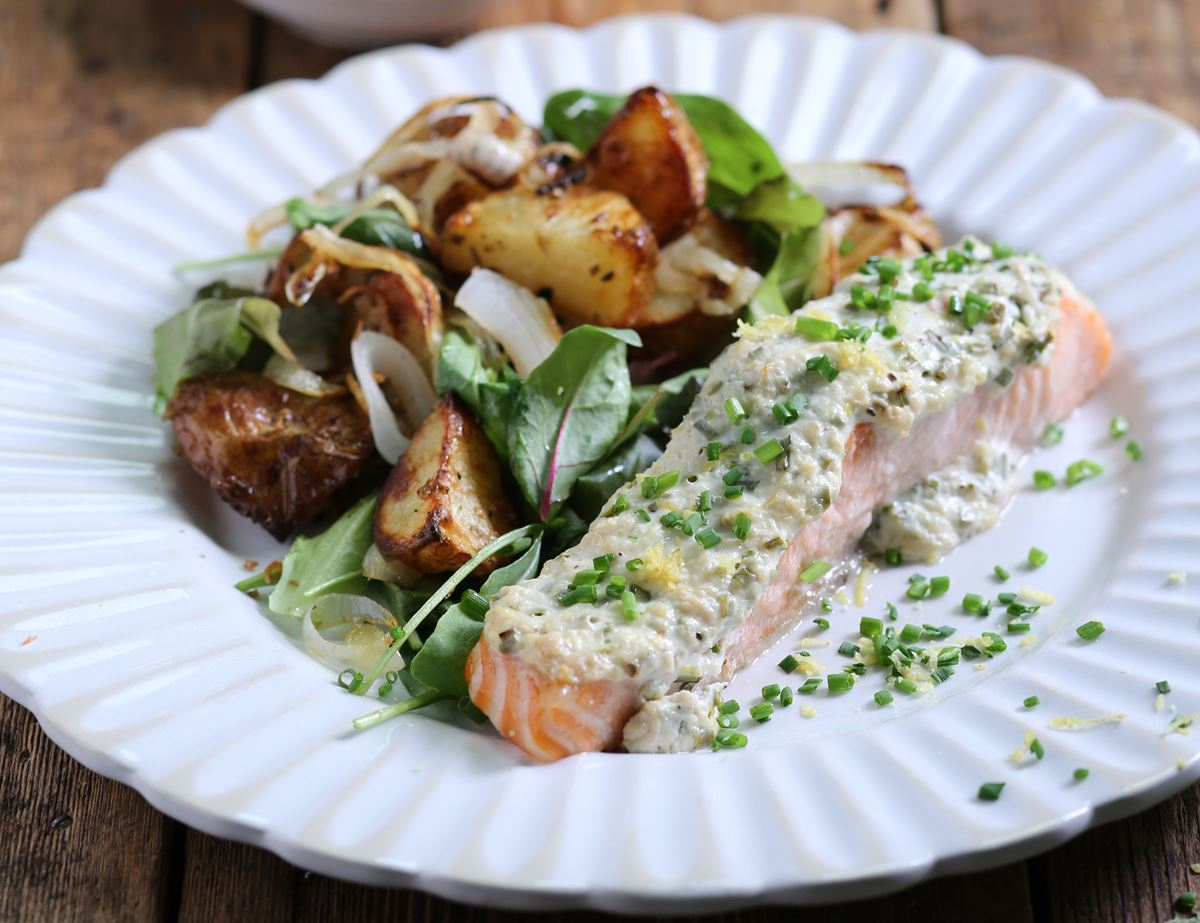Lemon & Chive Baked Salmon with Spiced New Potatoes
