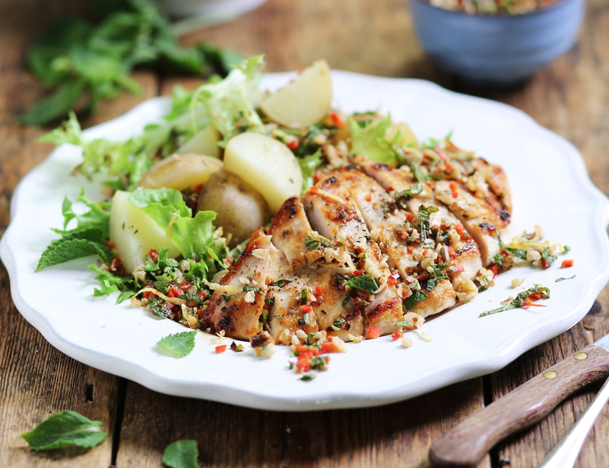 Speedy Griddled Chicken with Crushed Walnuts, Lemon & Mint