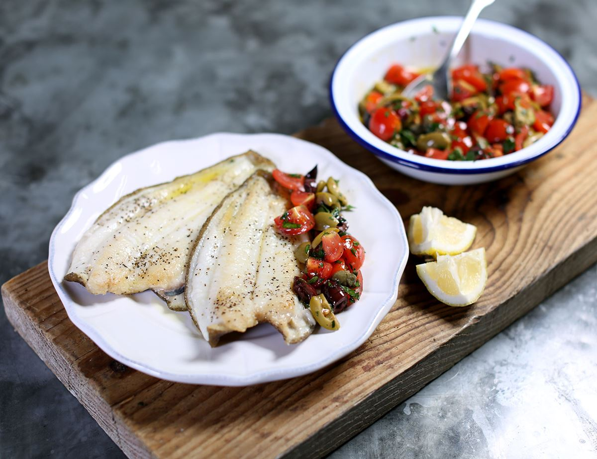 Grilled Lemon Sole with Tomatoes, Capers & Olives