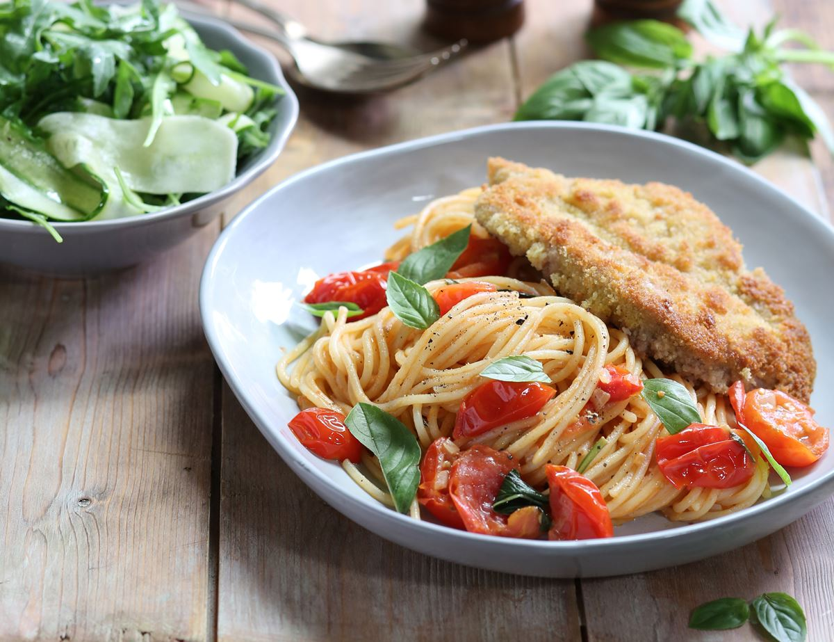 Golden Pork Schnitzel with Tomato & Basil Spaghetti