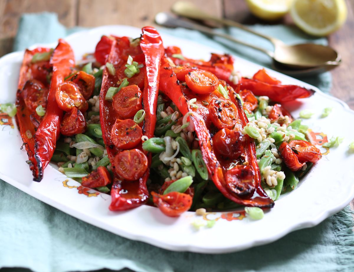 Roasted Sweet Peppers with Jewelled Runner Bean Barley
