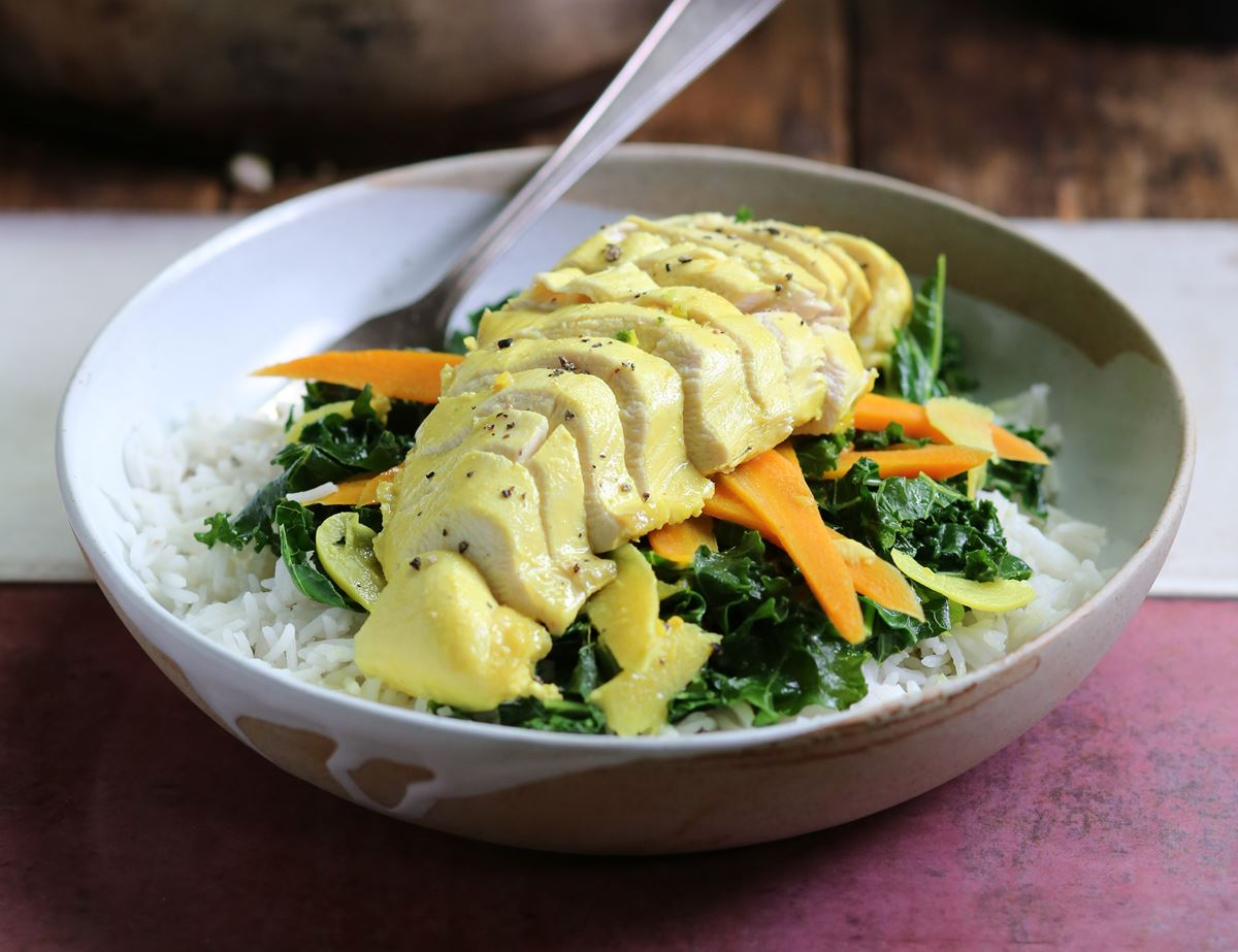 Speedy Turmeric & Coconut Poached Chicken with Rice