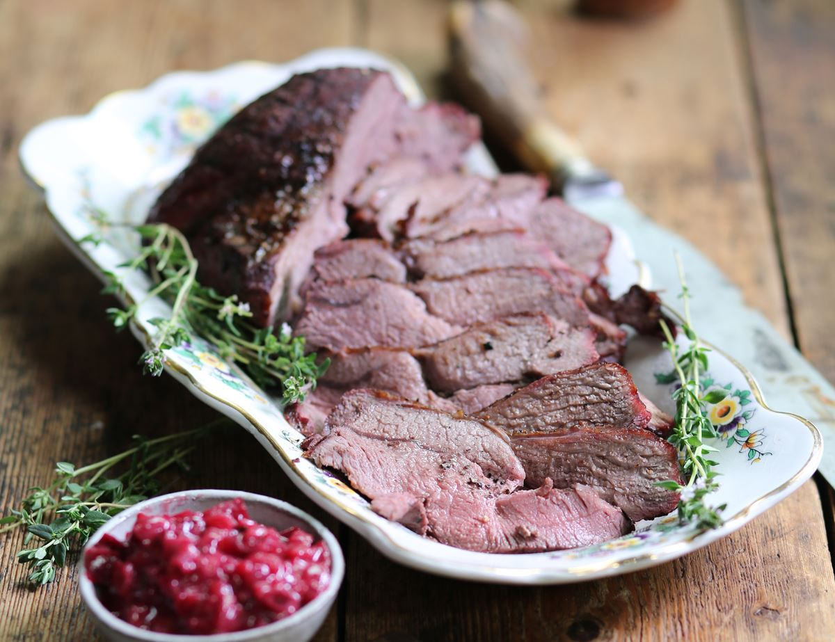 Barbecued Venison with Plum & Thyme Sauce