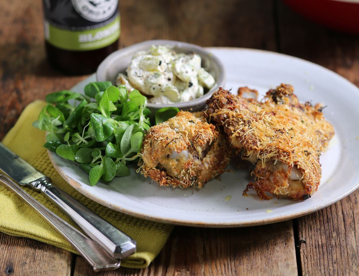 Parmesan Crusted Chicken with Creamy Potato Salad