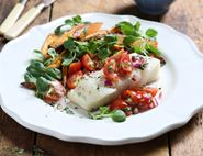 Baked Cod with Sweet Potato Chips & Tarragon Salsa