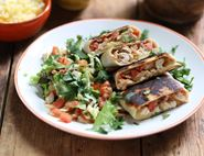 Tex-Mex Cheesy Chicken Chimichangas with Tomato Salsa