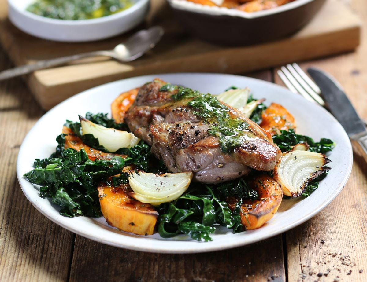 Minted Lamb Steaks with Roast Squash & Cavolo Nero