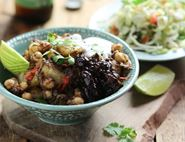 Golden Potato & Chickpea Chaat with Date & Tamarind Chutney