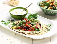 Roast Veg Flatbreads with Garlic Sauce
