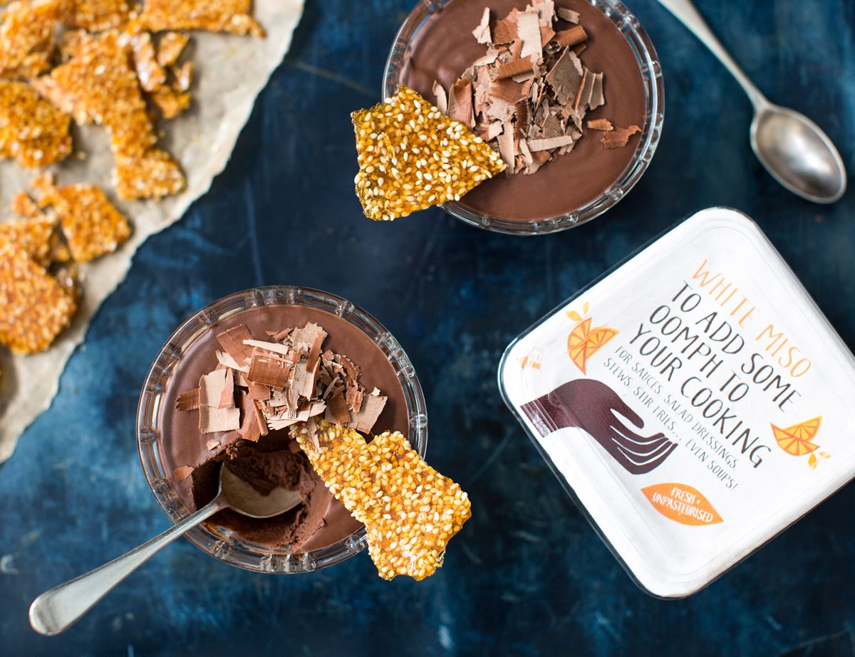 Chocolate & Miso Mousse with Sesame Brittle