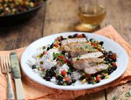 Cumin Crusted Pork Steaks with Deep South Succotash