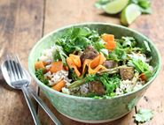 Spicy Thai Rice Bowl with Peanut Dressing