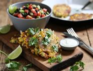 Sweetcorn, Feta & Courgette Fritters with Mexican Bean Salad
