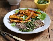 Minute Steaks with Mojo Verde Sauce & Sweet Potato Chips