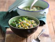 Popping Sweetcorn, Kale & Buckwheat Soup