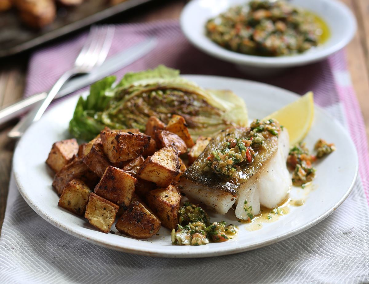 Pan-Fried Cod with Crispy Cajun Potatoes & Pumpkin Seed Salsa