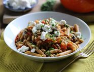 Penne with Sicilian Aubergine Sauce, Ricotta & Pine Nuts