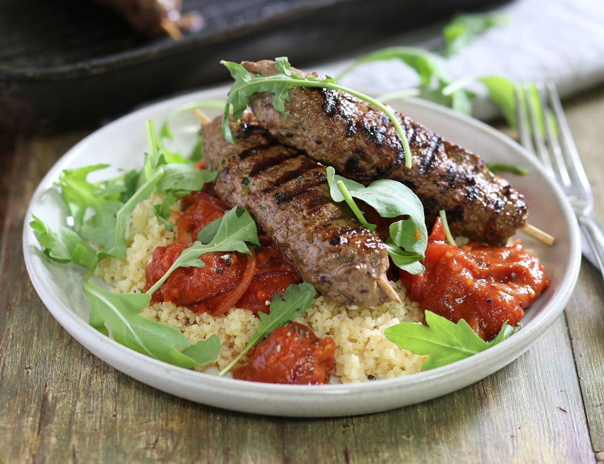 Beef Koftes with Spiced Tomato Sauce & Bulgar Wheat