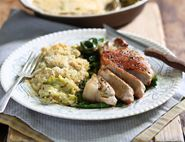 Golden Pork Steaks with Creamy Leek Gratin