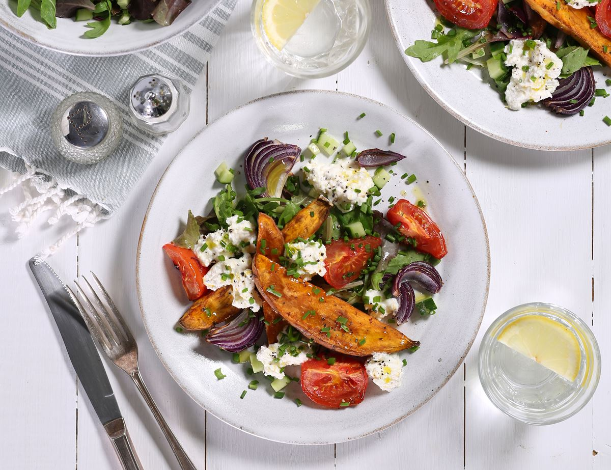 Harissa Spiced Sweet Potato, Ricotta & Tomatoes