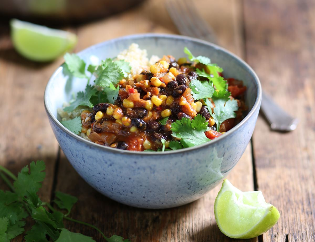Colombian Braised Black Beans with Corn & Quinoa