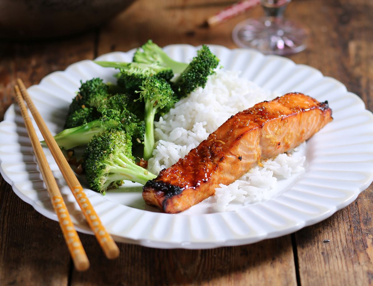 Sweet Chilli & Ginger Salmon with Garlic Stir Fried Broccoli