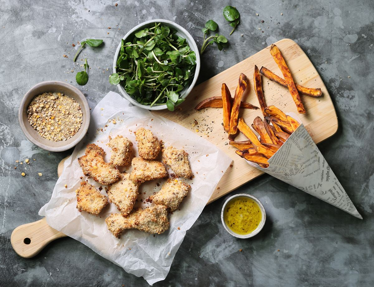 Dukkah Chicken Nuggets with Sweet Potato Fries