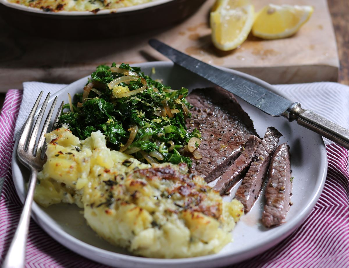 Top Rump Minute Steaks with Parsnip & Blue Cheese Gratin