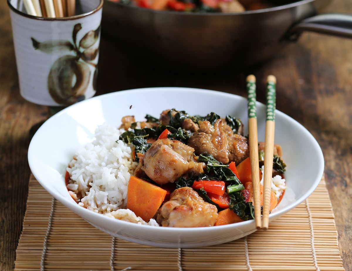 Saucy Lemon Chicken with Stir Fried Veg