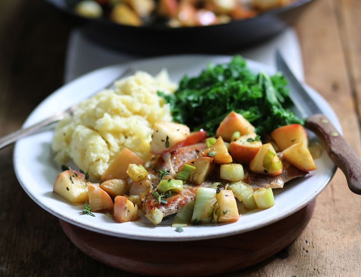 Pork Escalopes with Buttery Apples & Parsnip Mash