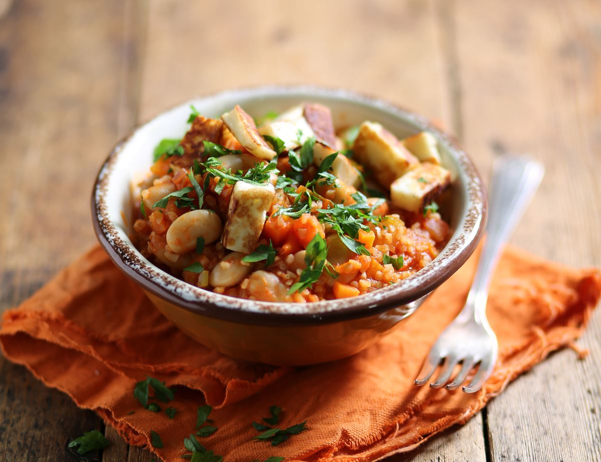 Cypriot Butter Bean & Bulgar Wheat Stew with Melting Halloumi