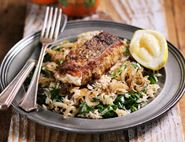 Syrian Fried Hake with Spiced Rice Pilaff