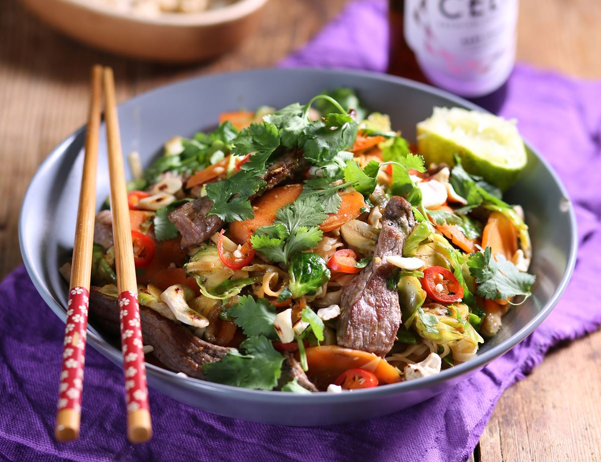 Speedy Szechuan Beef with Stir Fried Sprout Noodles